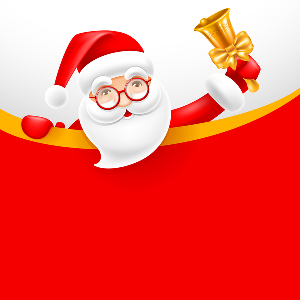 Santa with bell and blank christmas background vector 02