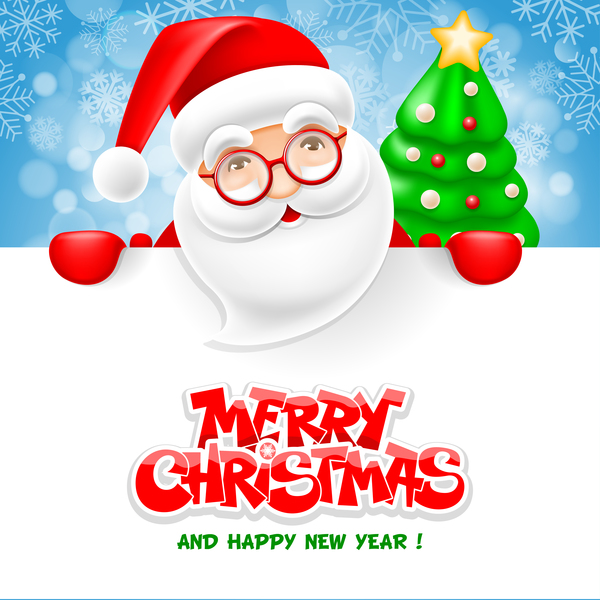 Santa with christmas and new year card vector free download