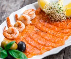 Sashimi with lemon olives Stock Photo