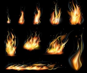 Set of fires illustration vector 01