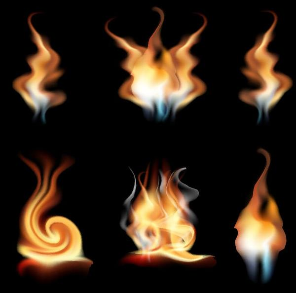 Set of fires illustration vector 02