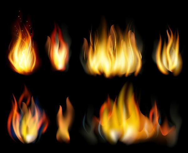 Set of fires illustration vector 04