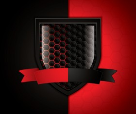 Shield with red and black metal background vector