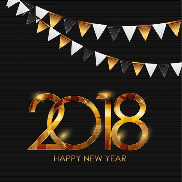 Shiny 2018 new year background with corner flags decor vector