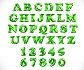 Shiny green alphabet with number vector