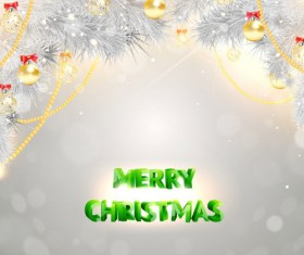 Silver christmas background with golden decor vector 01