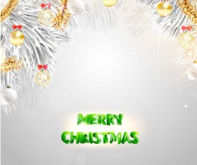 Silver christmas background with golden decor vector 02