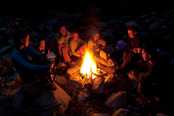 Sitting around the campfire Stock Photo free download
