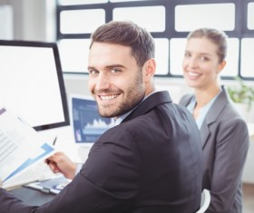 Smiling office worker Stock Photo