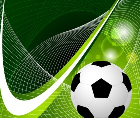 Soccer with green abstract background vector