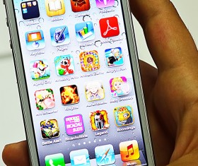 Social Media Apps on iPhone Stock Photo 01