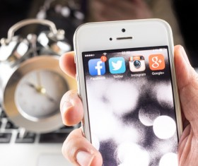 Social Media Apps on iPhone Stock Photo 02