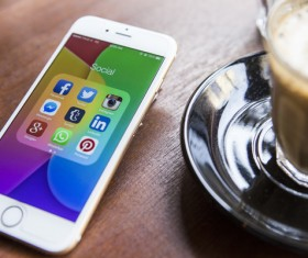 Social Media Apps on iPhone Stock Photo 06