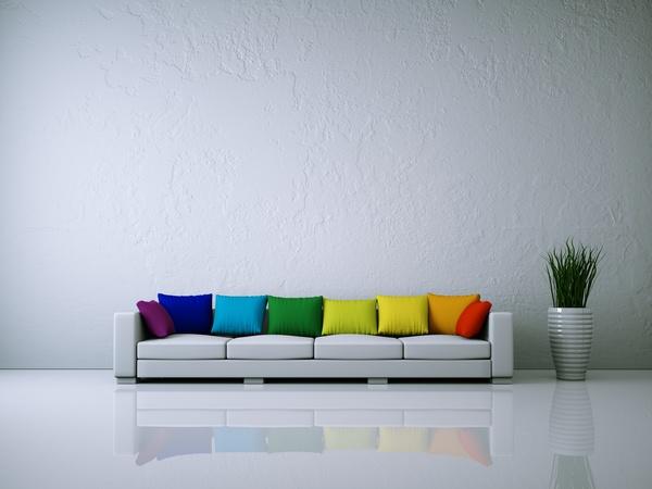 Sofa With Multicolored Sofa Cushions Stock Photo