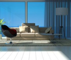 Spacious and bright sea view room Stock Photo 02