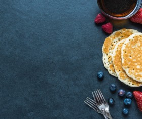 Strawberry blueberry with pancake Stock Photo