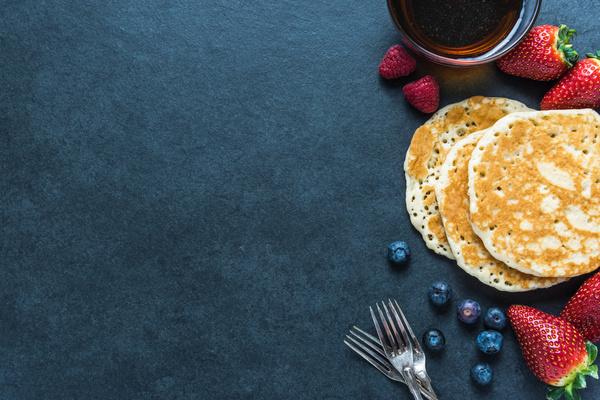 Strawberry blueberry with pancake Stock Photo
