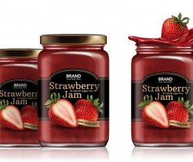 Strawberry jam jar package vector 01