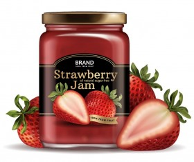 Strawberry jam jar package vector 02