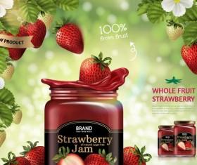 Strawberry jam jar poster vectors