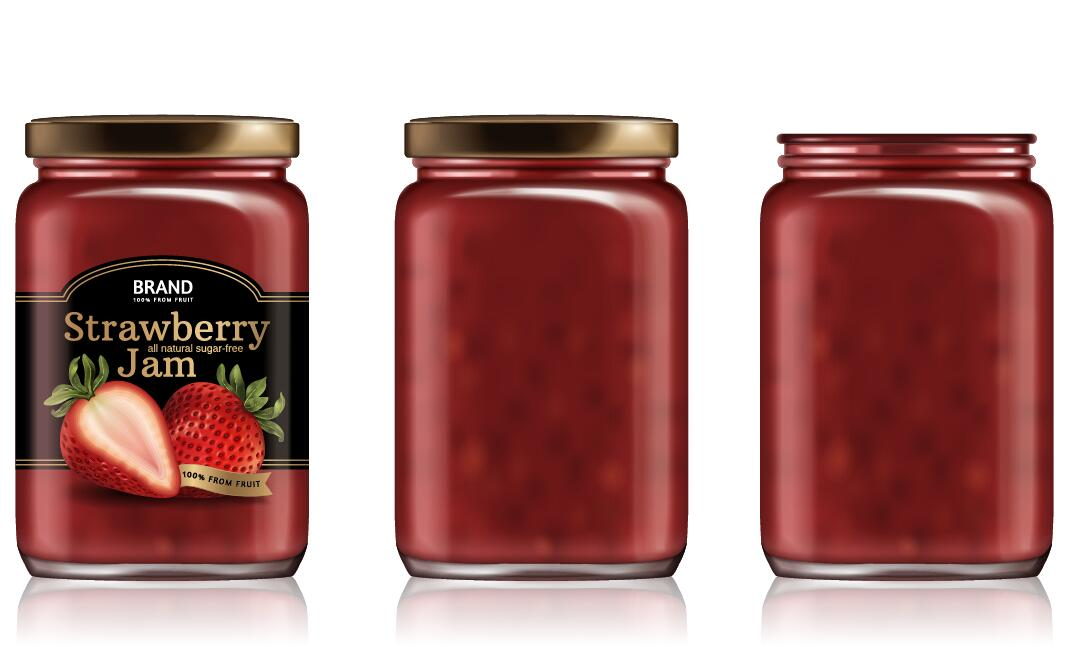 Strawberry jam package vector material