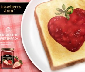 Strawberry jam with bread vectors