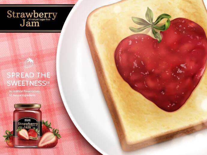 Strawberry jam with bread vectors