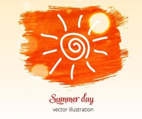 Summer watecolor illustration vector 01