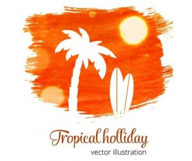 Summer watecolor illustration vector 02
