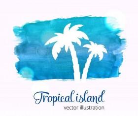 Summer watecolor illustration vector 04