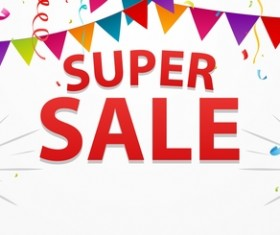 Super sale poster template vector material