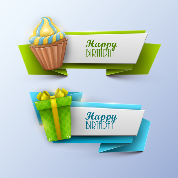 Sweets with birthday banner vectors 03