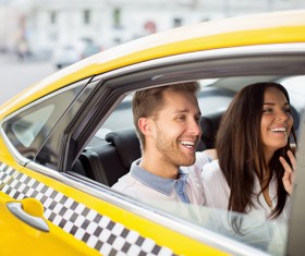 Taxi sweet couple in car Stock Photo