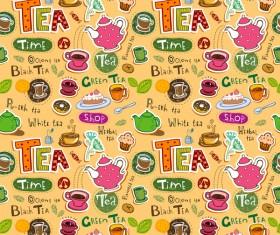 Tea seamless pattern vectors 07