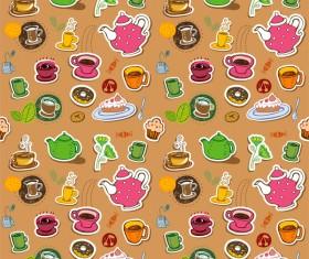 Tea seamless pattern vectors 08