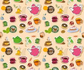 Tea seamless pattern vectors 09