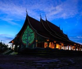 Thai Buddhist temple night closeup Stock Photo