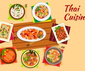 Thai cuisine design vector 01