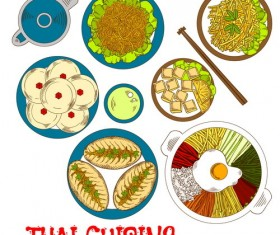Thai cuisine design vector 02
