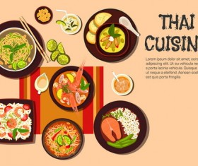 Thai cuisine design vector 03