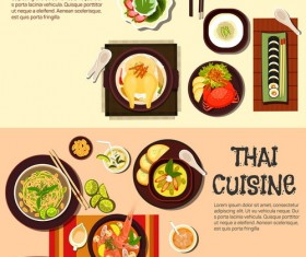 Thai with korean food design vector 01