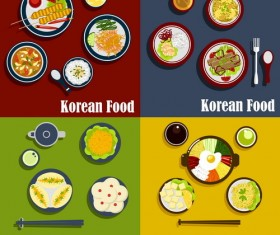 Thai with korean food design vector 02