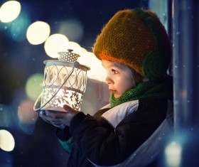 The children holding white lanterns Stock Photo
