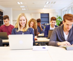 The students who use computers Stock Photo