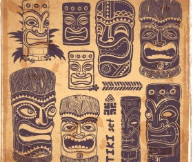 Tiki illustration vector set 01
