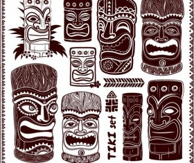Tiki illustration vector set 02