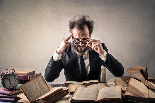 Tired scholar Stock Photo
