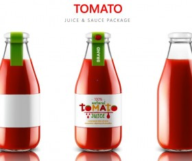 Tomato juice with sauce package vector material 02