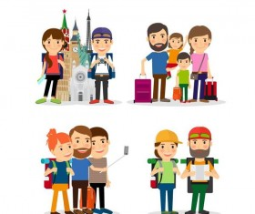 Travel people illustration vector set 01