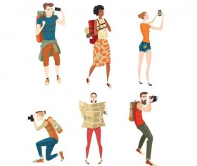 Travel people illustration vector set 02